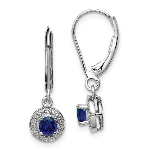 Sterling Silver Diamond and Created Sapphire Birthstone Earrings QBE11SEP