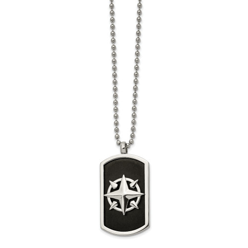 Men's Chisel Stainless Steel Black IP-Plated Compass 24in Necklace SRN2726-24