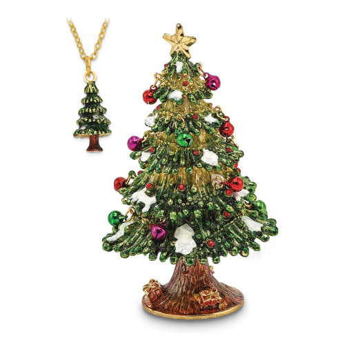 Bejeweled DECK THE HALLS Christmas Tree Trinket Box BJ2100