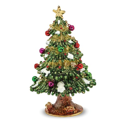 Bejeweled DECK THE HALLS Christmas Tree Trinket Box