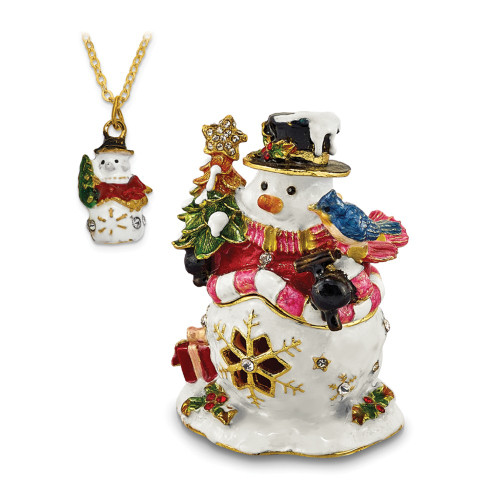 Bejeweled HOLLY JOLLY Snowman Trinket Box BJ2138