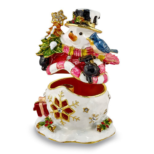 Bejeweled HOLLY JOLLY Snowman Trinket Box