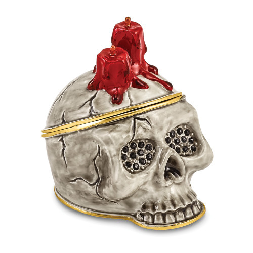 Bejeweled CAPTAIN BLACK BEARD Skull With Red Candles Trinket Box BJ4049