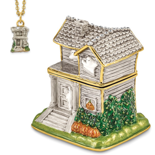Bejeweled VACANCY Haunted House With Ghosts Trinket Box BJ4048