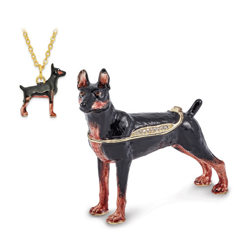 Bejeweled RALEIGH Doberman Pinscher Trinket Box BJ3085