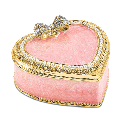 Bejeweled PEARLY PINK HEART With Ring Pad Trinket Box BJ4082