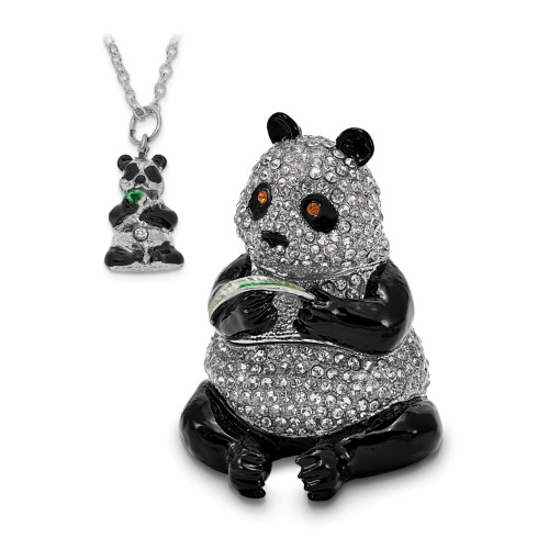 Bejeweled LING LING Panda Bear With Leaf Trinket Box BJ2123