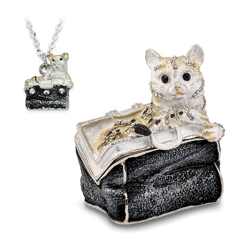 Bejeweled MISS KITTY Cat In Purse Trinket Box BJ2144