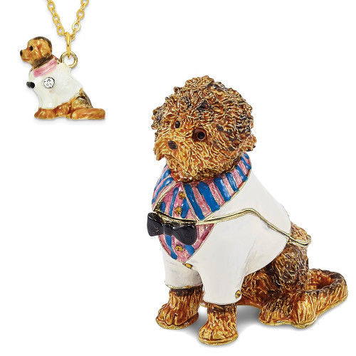 Bejeweled OLIVER Labradoodle In Shirt Trinket Box BJ3050