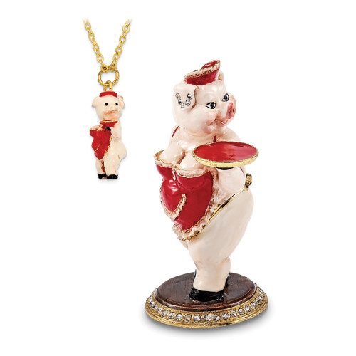 Bejeweled FANCY NANCY Waitress Pig Trinket Box BJ3099