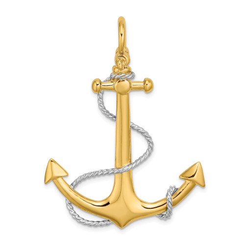 14k Yellow Gold 3-D Large Anchor With Rope / Shackle Bail Pendant K9251