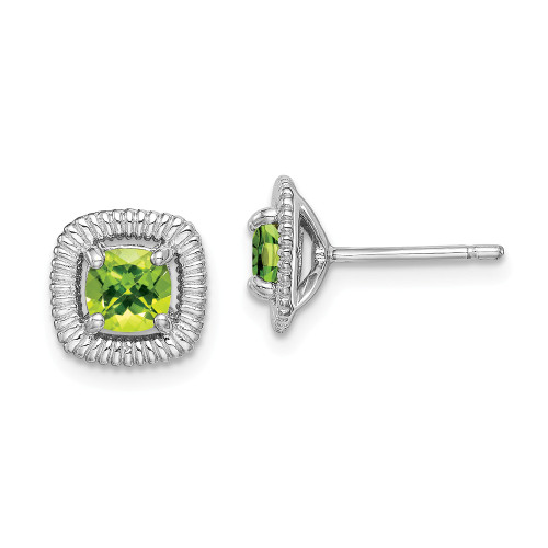Sterling Silver Peridot Square Post Earrings - Birthstone August QE14493AUG