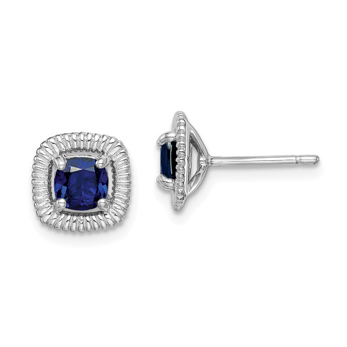 Sterling Silver Sapphire Square Post Earrings - Birthstone September QE14493SEP