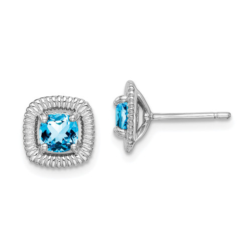 Sterling Silver Swiss Blue Topaz Square Post Earrings - Birthstone December