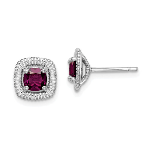 Sterling Silver Rhodolite Garnet Square Post Earrings QE14493JUN