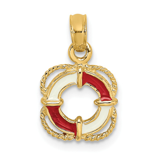 14K Yellow Gold Red And White Enameled Lifesaver Ring Pendant K6770