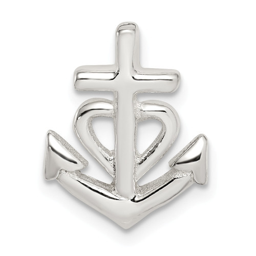 Sterling Silver  Anchor with Heart Pendant QC9708