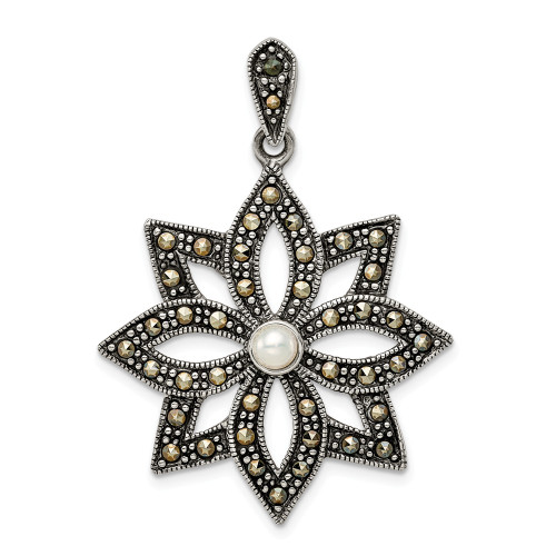 Sterling Silver Antiqued Marcasite And Imitation Pearl Flower Pendant QP5192