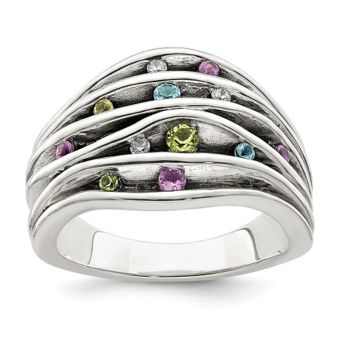 Sterling Silver Blue Topaz/Peridot/Amethyst And CZ Ring Size 6 QR6855-6