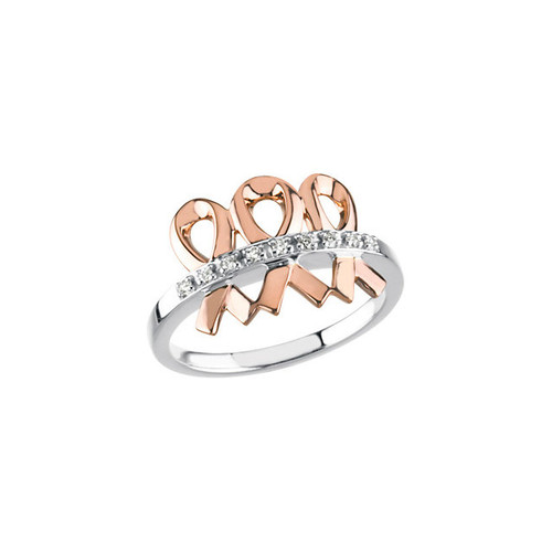 14K White & Rose Gold Me & My Two Friends Breast Cancer Awareness Ring