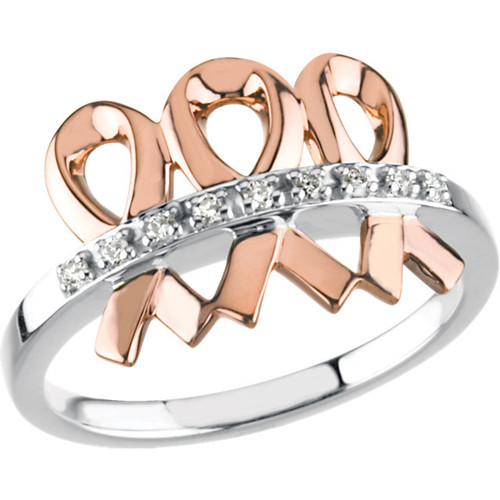14K White & Rose .09 CTW Diamond Me & My Two Friends Ring R43043:1020:P