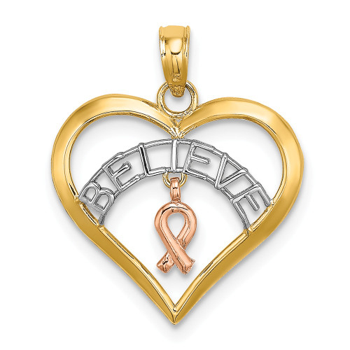 14k Two tone Gold BELIEVE In Heart With Breast Cancer Awareness Ribbon Pendant K9551