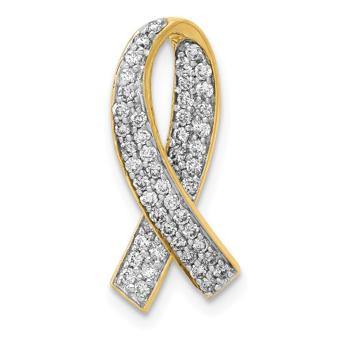 14k Yellow Gold Diamond Breast Cancer Awareness Ribbon Pendant PM5191-033-YA