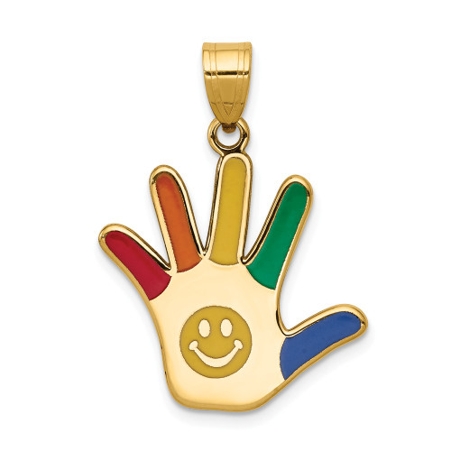 14k Yellow Gold Enameled Autism Awareness With Smiley Face Handprint Pendant XM634