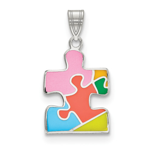 Sterling Silver Enameled Autism Awareness Puzzle Piece Pendant QC9337