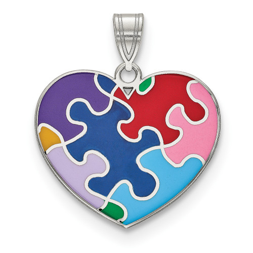 Sterling Silver Enameled Autism Awareness Puzzle Heart Pendant QC9338