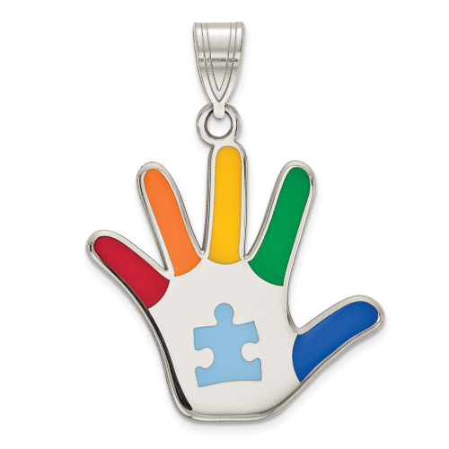 Sterling Silver Enamel Autism Awareness Puzzle Piece Handprint Pendant QC9343