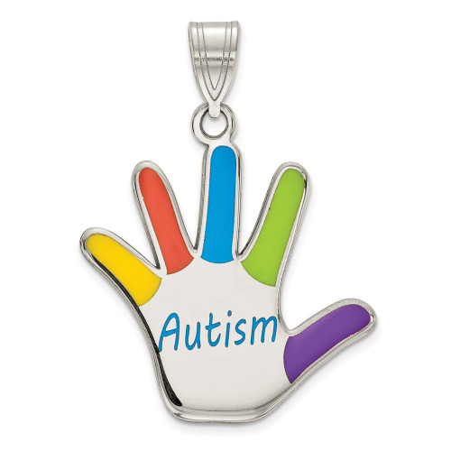 Sterling Silver Enamel Autism Awareness Handprint Pendant QC9340