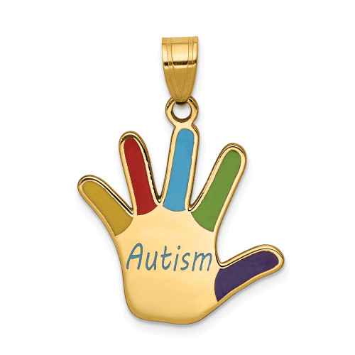 14k Yellow Gold Enameled Autism Awareness Handprint Pendant XM630