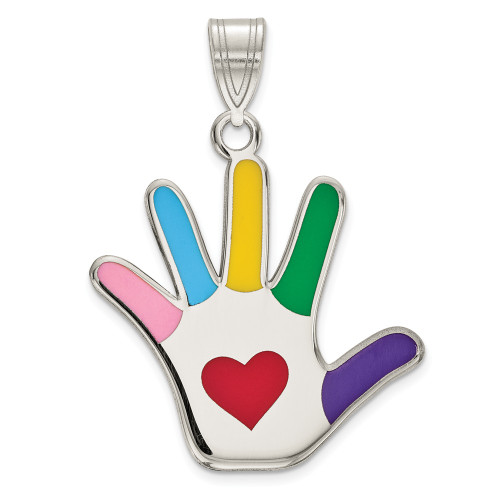 Sterling Silver Enamel Autism Awareness Heart Handprint Pendant QC9341