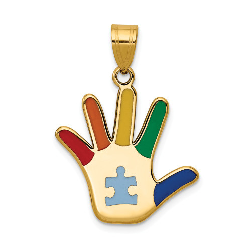 14k Yellow Gold Enameled Autism Awareness Puzzle Piece Handprint Pendant XM632