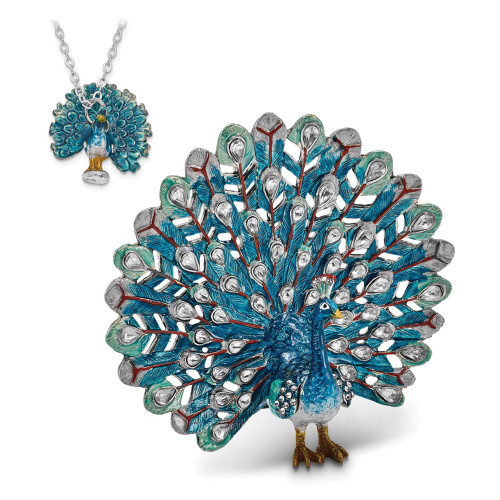 Bejeweled IRIDESCENCE Blue Peacock Trinket Box BJ2055