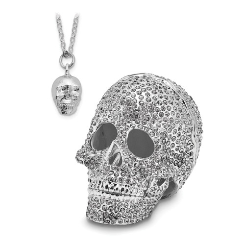 Bejeweled TREASURE TROVE Full Crystal Skull Trinket Box BJ2071