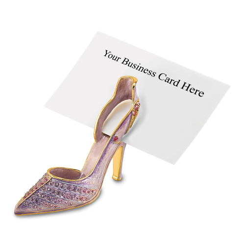 Bejeweled Crystal Lavender High Heel Business Card Holder BJ4021
