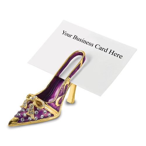 Bejeweled Crystal Enameled Purple High Heel Business Card Holder BJ4023