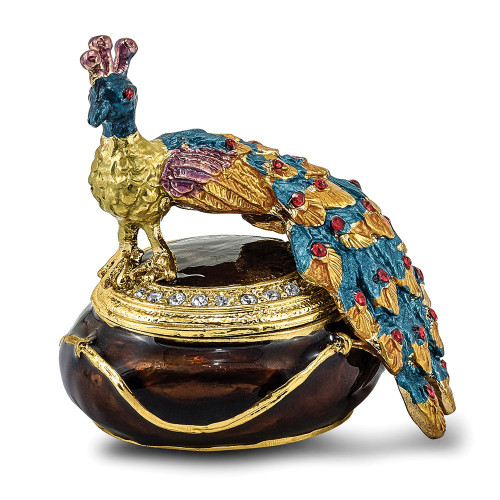 Bejeweled DIJON Peacock Box Trinket Box