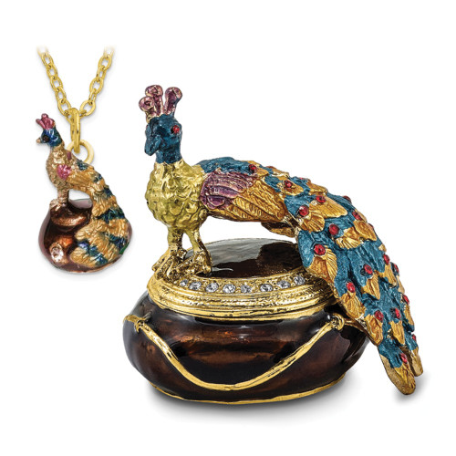 Bejeweled DIJON Peacock Box Trinket Box BJ2011
