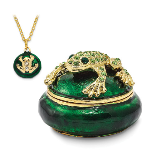 Bejeweled SPECKLES Frog Box Trinket Box BJ2030