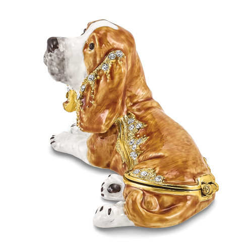Bejeweled OTIS Bassett Hound Trinket Box BJ4046