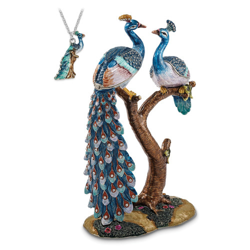 Bejeweled ROMEO And JULIET Peacock And Peahen Lovers Trinket Box BJ3090