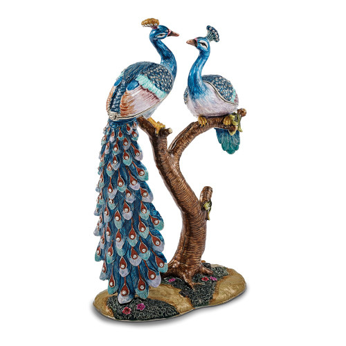 Bejeweled ROMEO And JULIET Peacock And Peahen Lovers Trinket Box