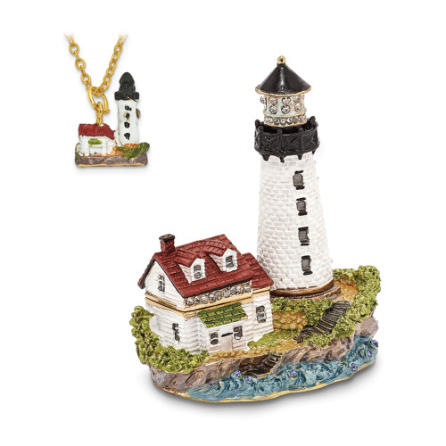 Bejeweled LUMI Guiding Lighthouse Trinket Box BJ3028