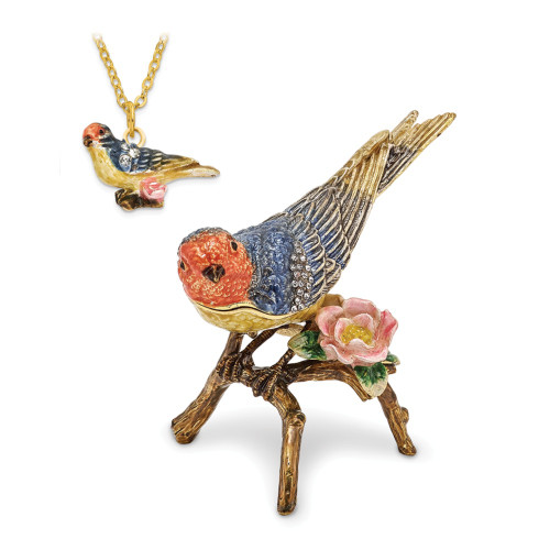Bejeweled LADY BLUEBIRD Trinket Box BJ2108