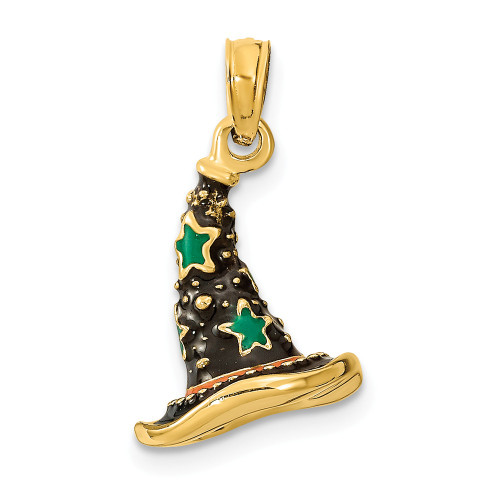 14K Yellow Gold With Enamel 3-D Witch's Hat Halloween Charm K6883