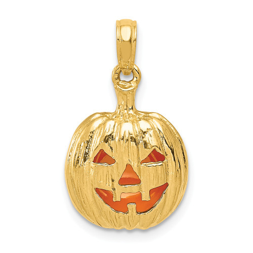 14k Yellow Gold Enameled 3-D Cut-Out Halloween Pumpkin Pendant K1733