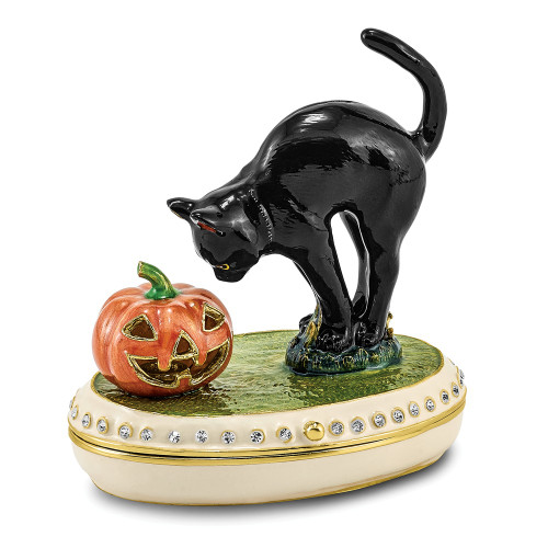 Bejeweled SPOOKY Black Cat And Pumpkin Halloween Trinket Box BJ4024